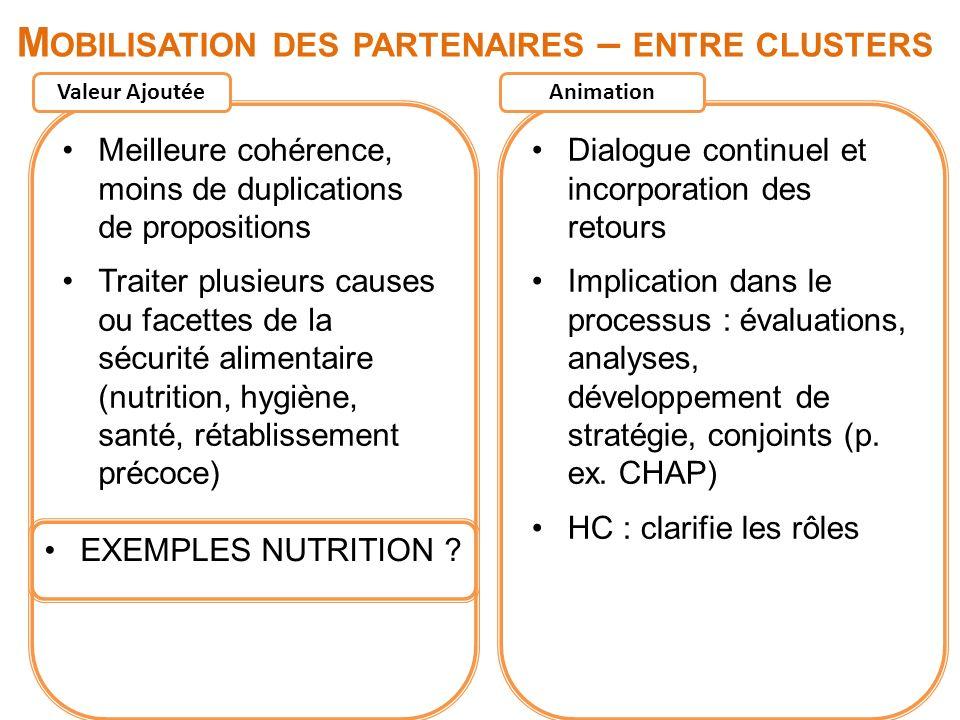 Mobilisation des partenaires – entre clusters