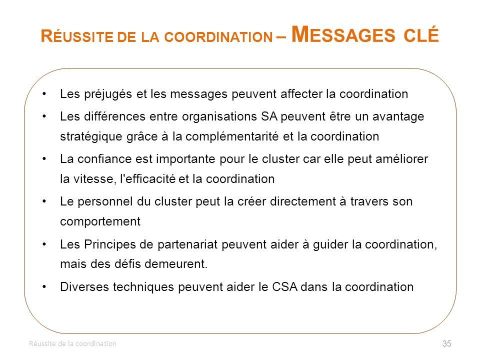 Réussite de la coordination – Messages clé