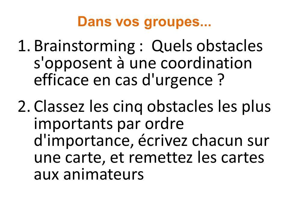 Dans vos groupes... Brainstorming : Quels obstacles s opposent à une coordination efficace en cas d urgence