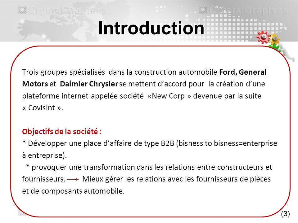 Introduction Trois groupes spécialisés dans la construction automobile Ford, General.