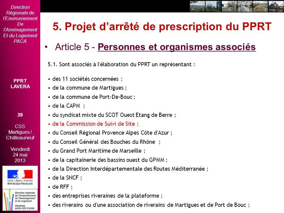5. Projet d'arrêté de prescription du PPRT