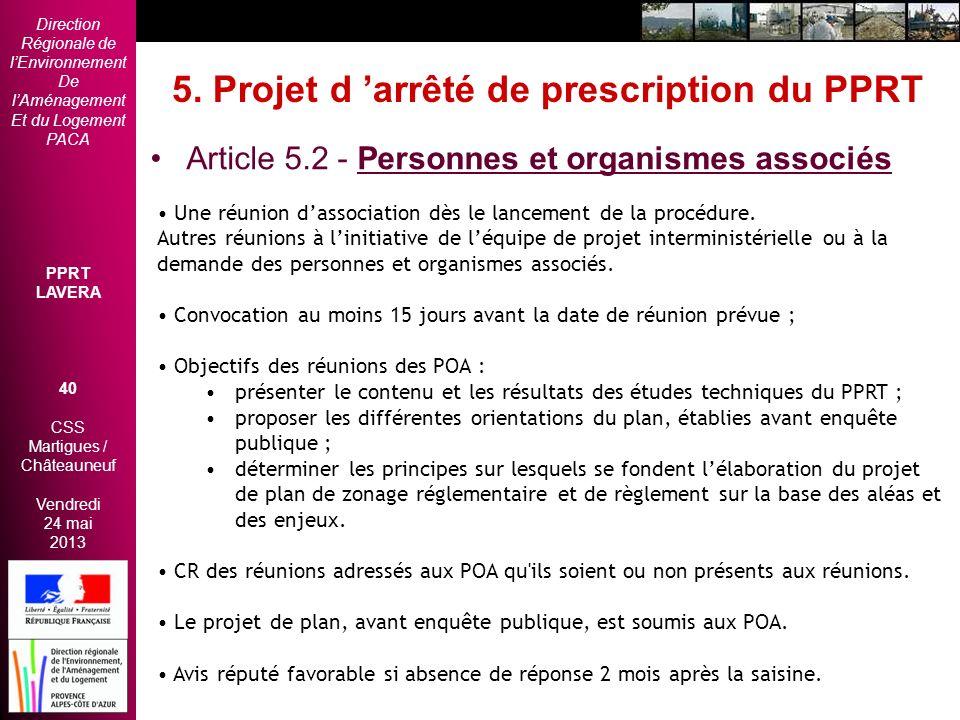 5. Projet d 'arrêté de prescription du PPRT