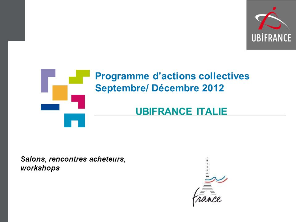 Programme d'actions collectives Septembre/ Décembre 2012