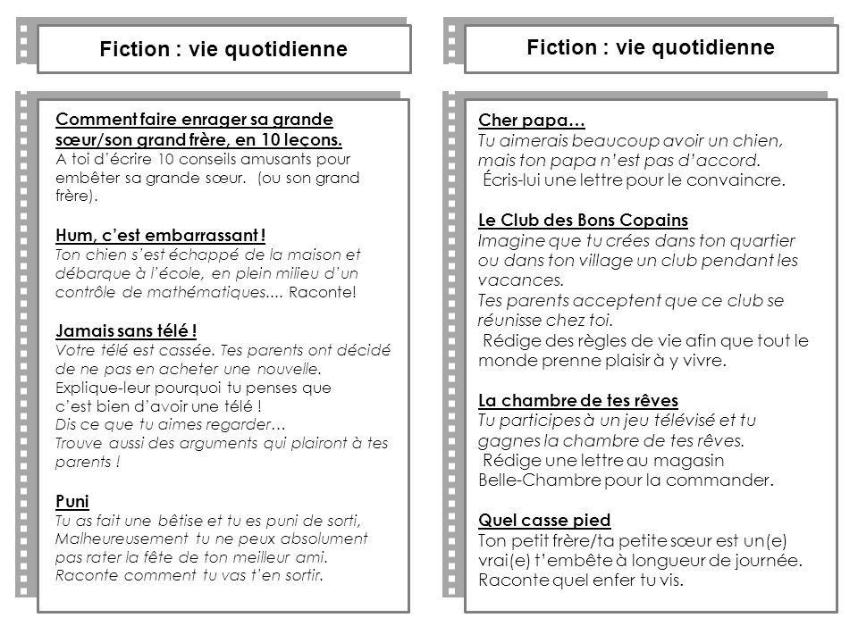 Fiction : vie quotidienne Fiction : vie quotidienne