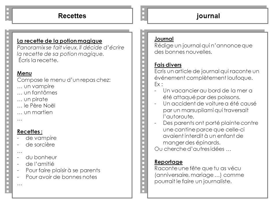 Recettes journal Journal La recette de la potion magique