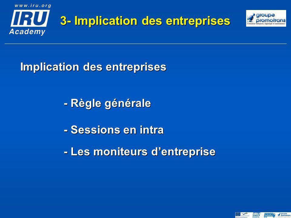 3- Implication des entreprises Implication des entreprises
