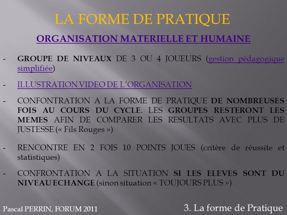 ORGANISATION MATERIELLE ET HUMAINE