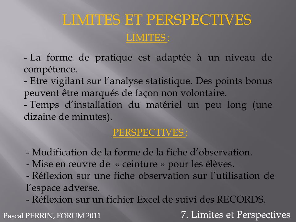 LIMITES ET PERSPECTIVES