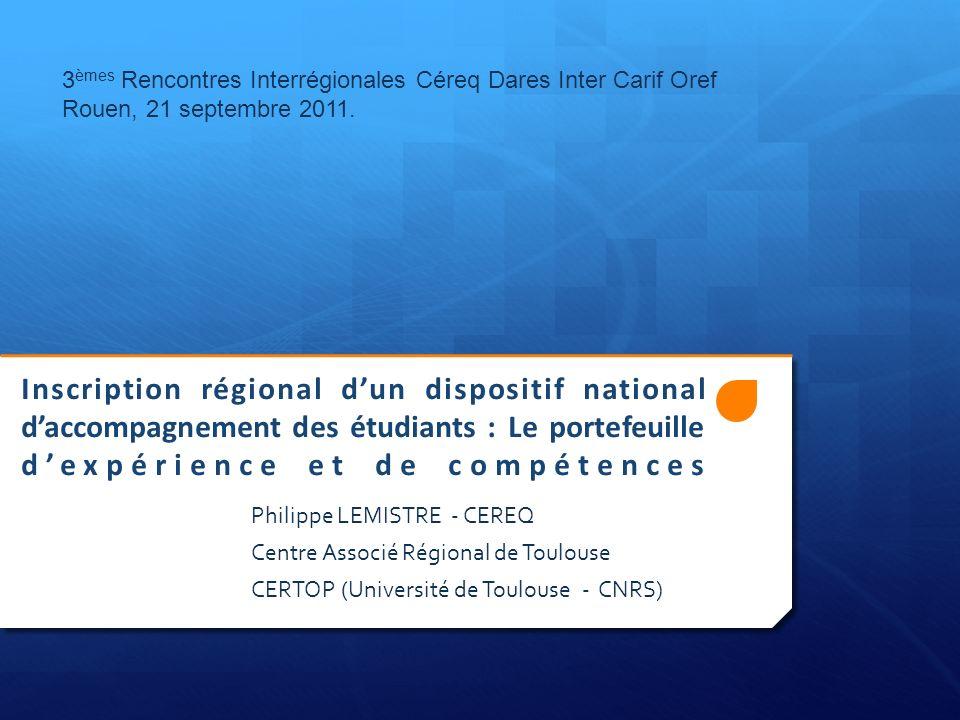 3èmes Rencontres Interrégionales Céreq Dares Inter Carif Oref