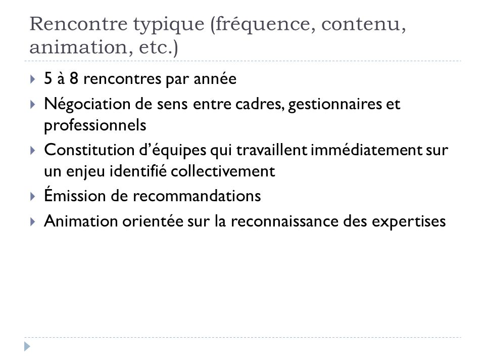 Rencontre typique (fréquence, contenu, animation, etc.)