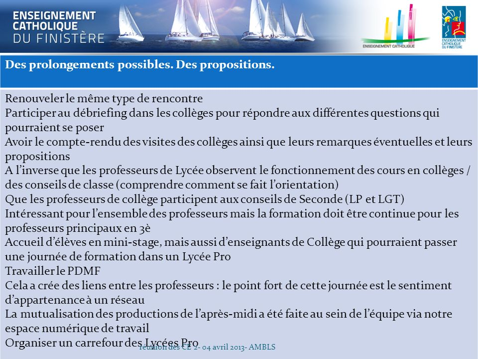 Des prolongements possibles. Des propositions.