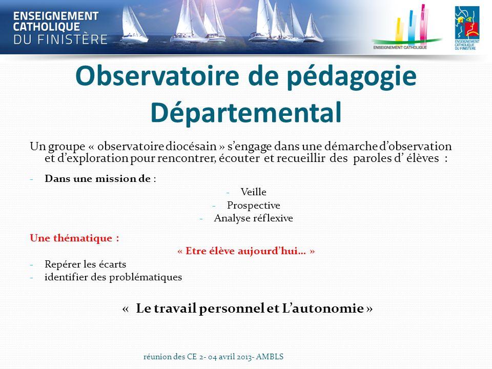 Observatoire de pédagogie Départemental