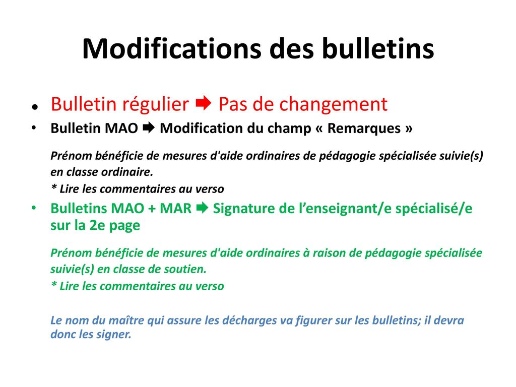 Modifications des bulletins