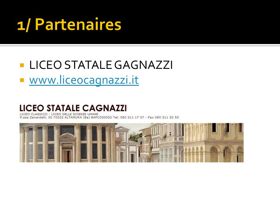 1/ Partenaires LICEO STATALE GAGNAZZI www.liceocagnazzi.it