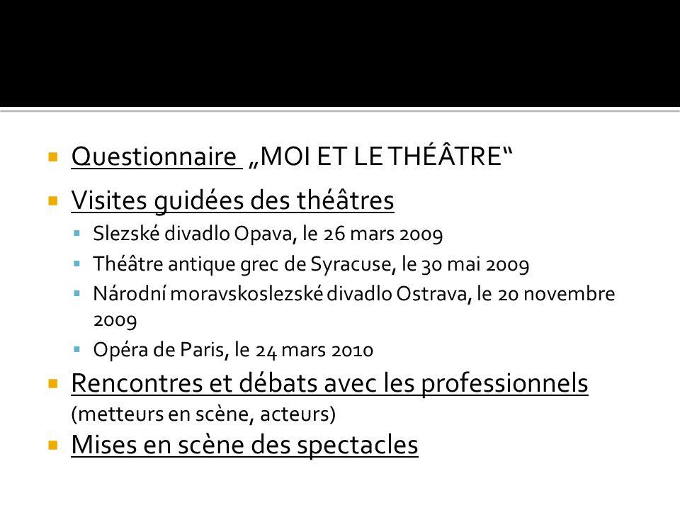 """Questionnaire """"MOI ET LE THÉÂTRE Visites guidées des théâtres"""