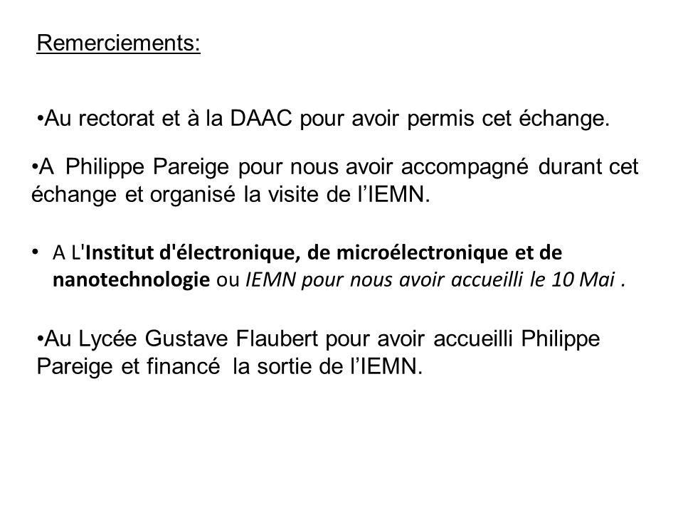 Remerciements: Au rectorat et à la DAAC pour avoir permis cet échange.