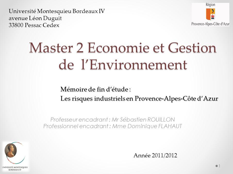 Master 2 Economie et Gestion de l'Environnement