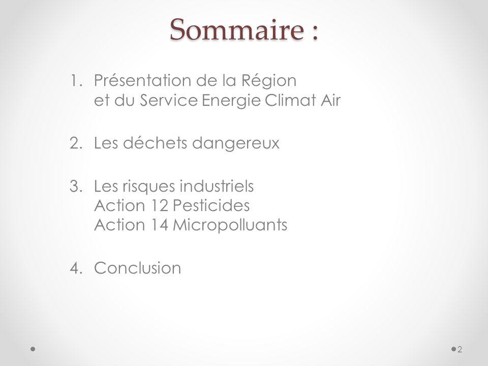 Sommaire : Présentation de la Région et du Service Energie Climat Air