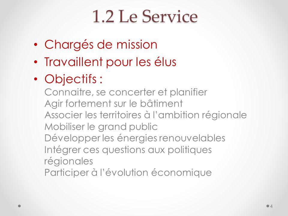 1.2 Le Service Chargés de mission Travaillent pour les élus