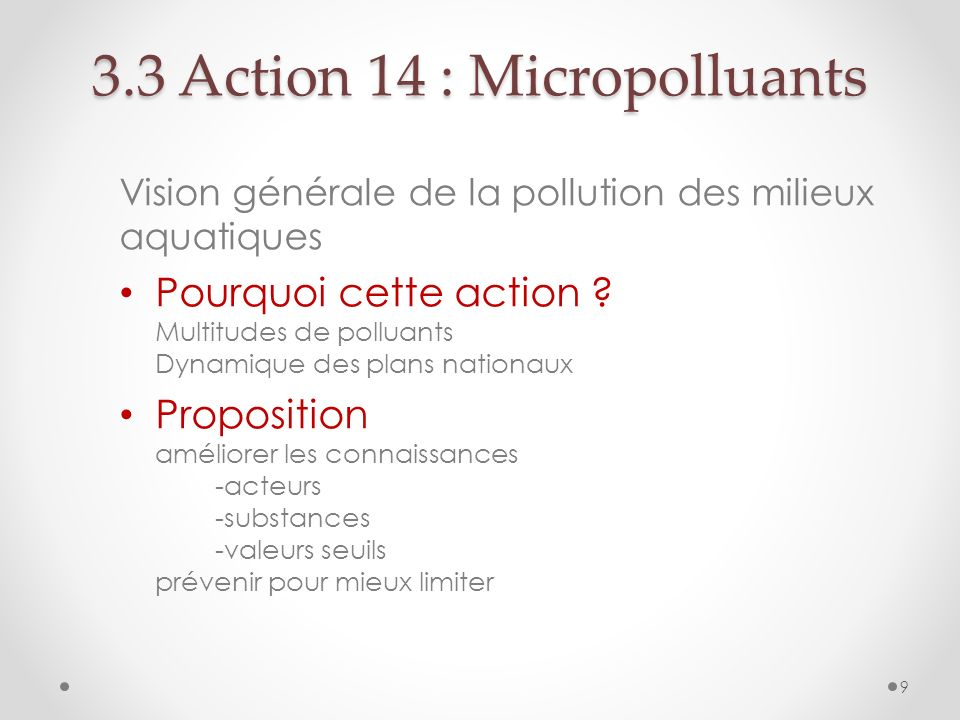 3.3 Action 14 : Micropolluants