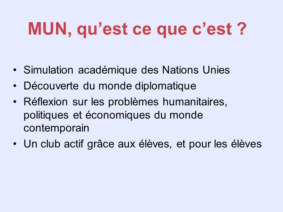 MUN, qu'est ce que c'est Simulation académique des Nations Unies