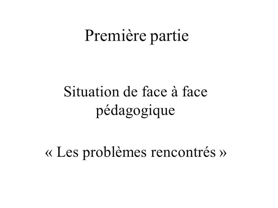 Situation de face à face pédagogique « Les problèmes rencontrés »