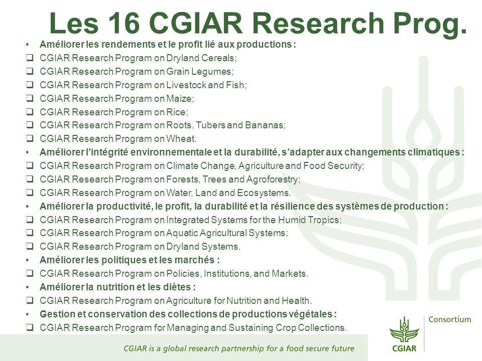 Les 16 CGIAR Research Prog.