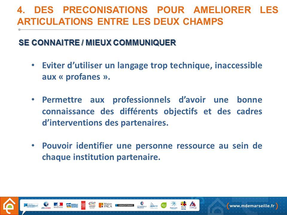 4. DES PRECONISATIONS POUR AMELIORER LES ARTICULATIONS ENTRE LES DEUX CHAMPS