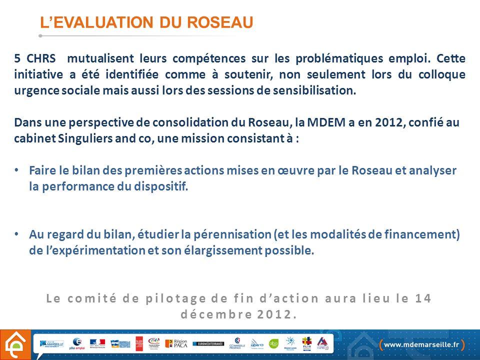 Le comité de pilotage de fin d'action aura lieu le 14 décembre 2012.