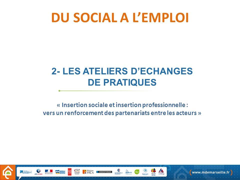 DU SOCIAL A L'EMPLOI 2- LES ATELIERS D'ECHANGES DE PRATIQUES