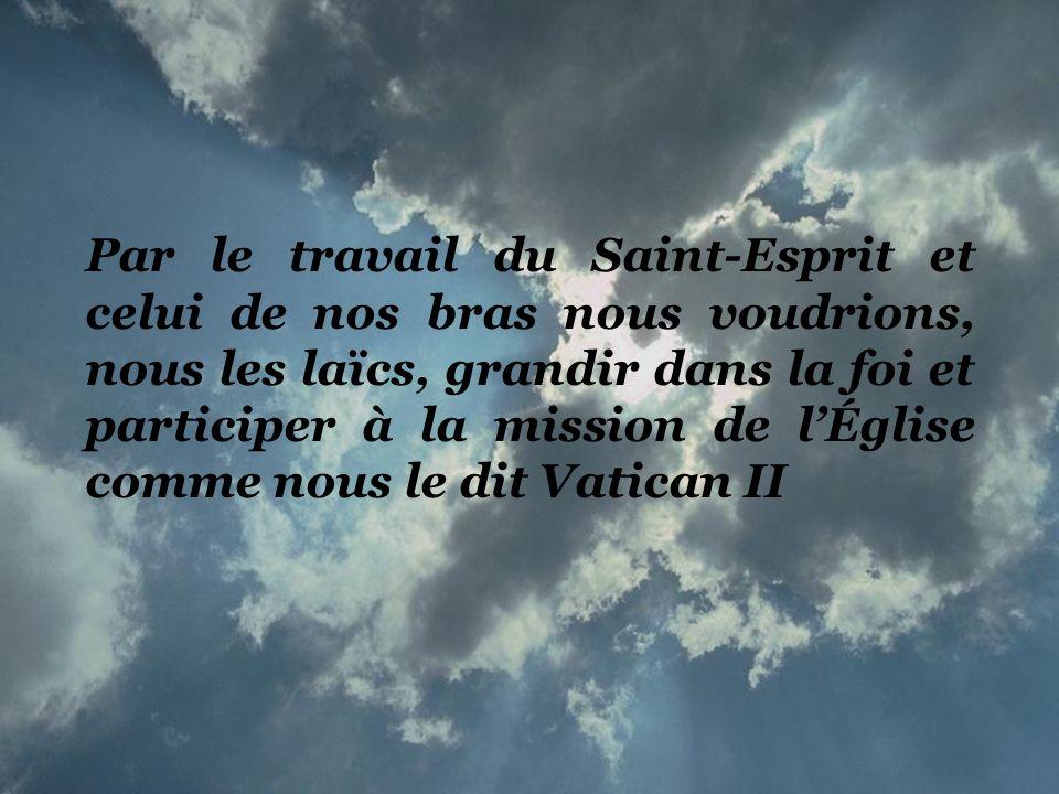 Par le travail du Saint-Esprit et celui de nos bras nous voudrions, nous les laïcs, grandir dans la foi et participer à la mission de l'Église comme nous le dit Vatican II