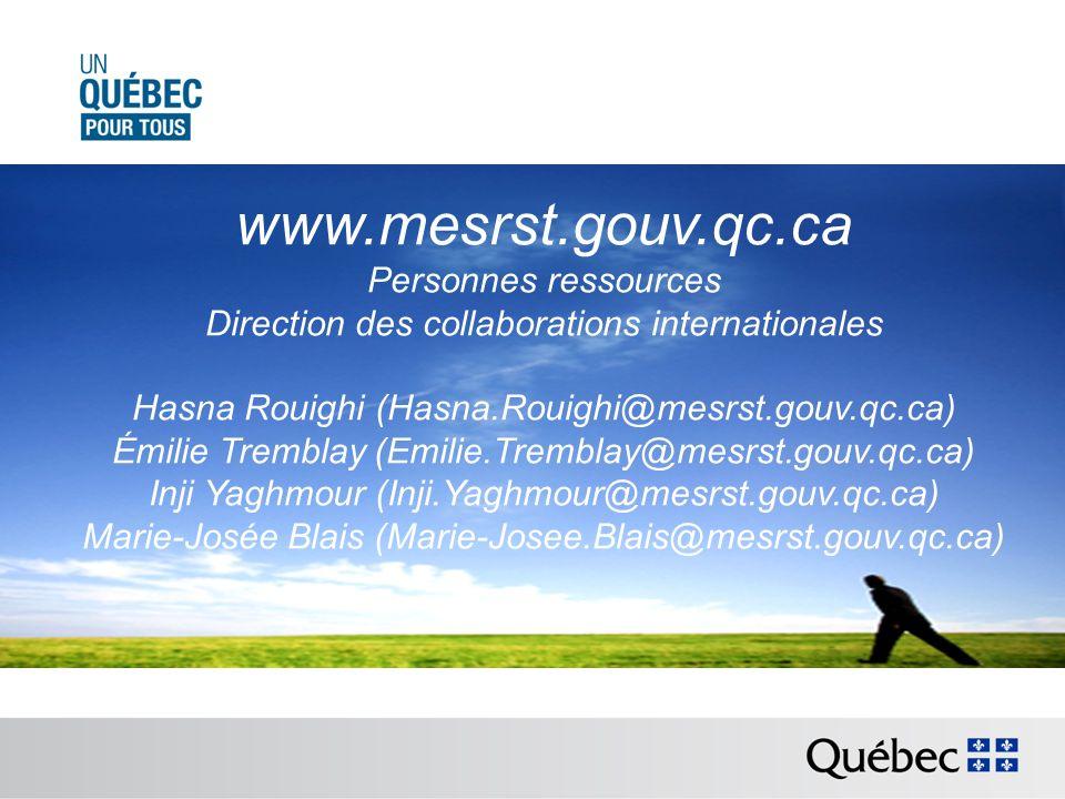 www.mesrst.gouv.qc.ca Personnes ressources