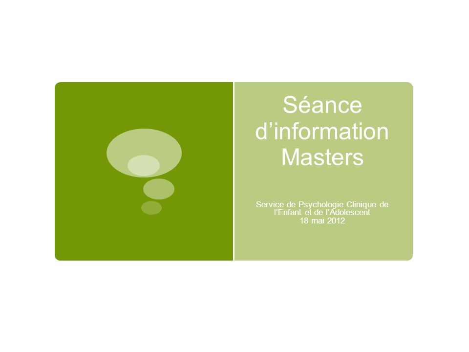 Séance d'information Masters