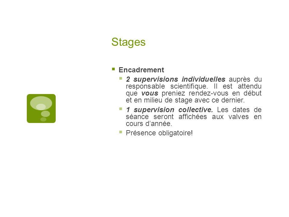 Stages Encadrement.
