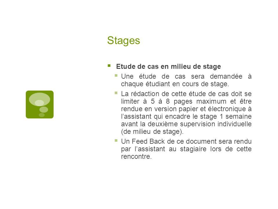 Stages Etude de cas en milieu de stage