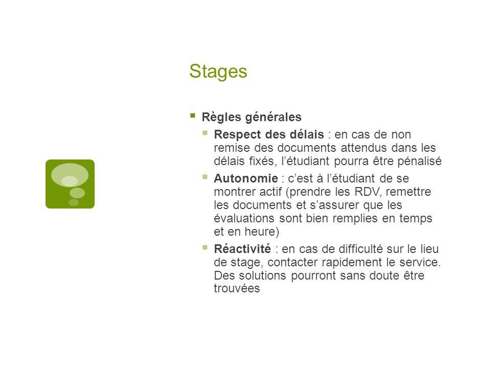Stages Règles générales