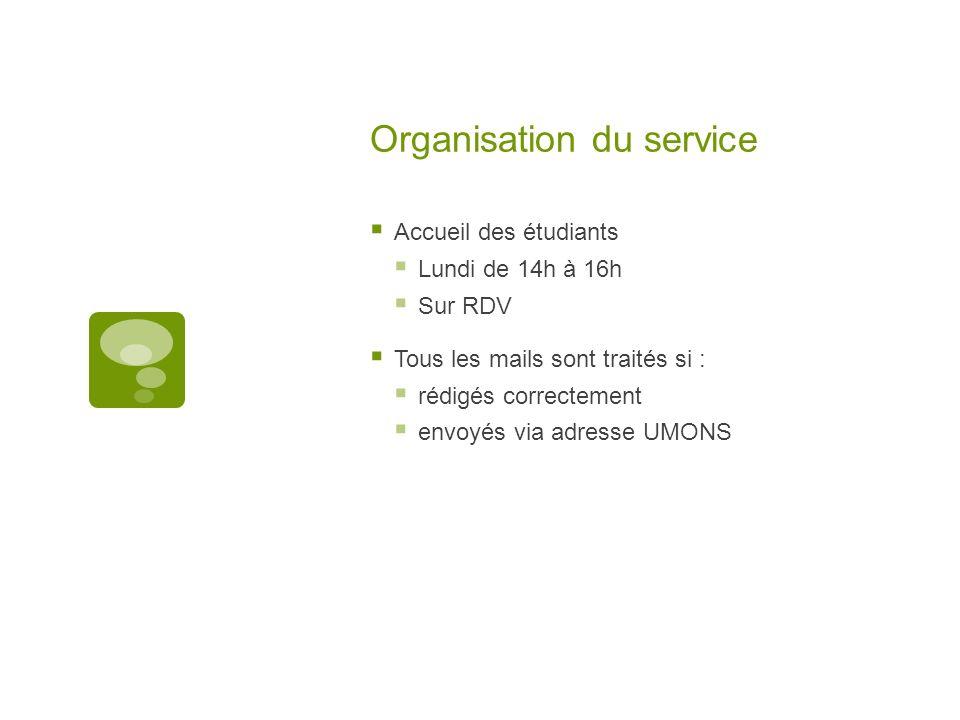 Organisation du service