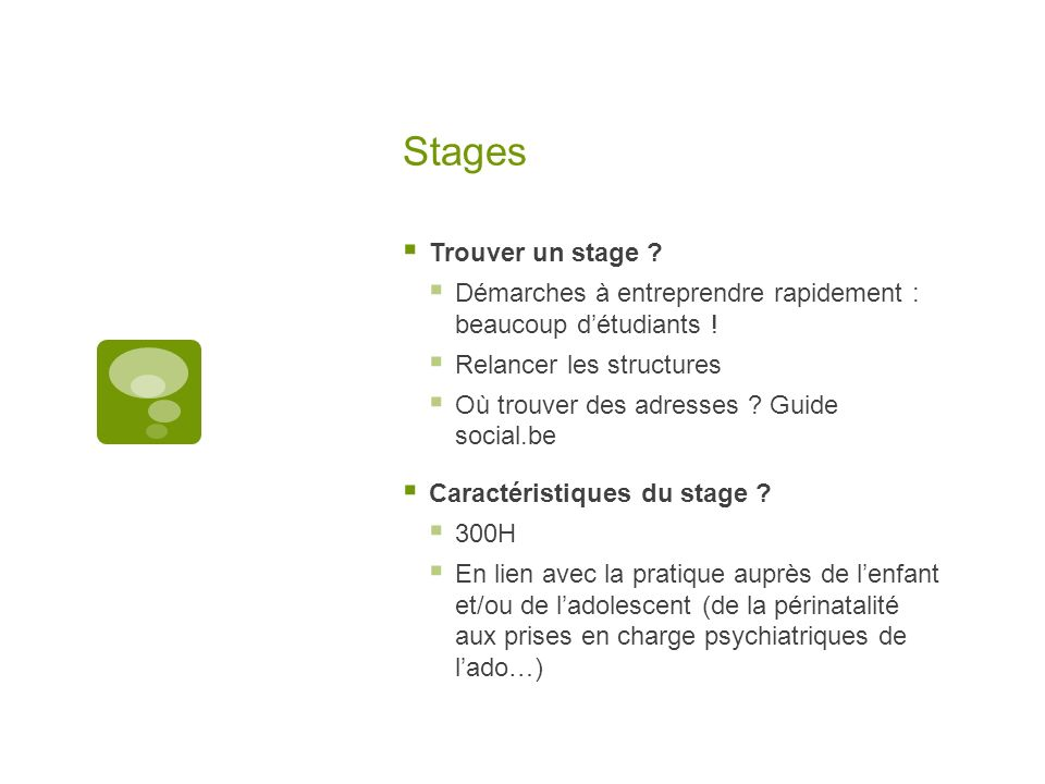 Stages Trouver un stage