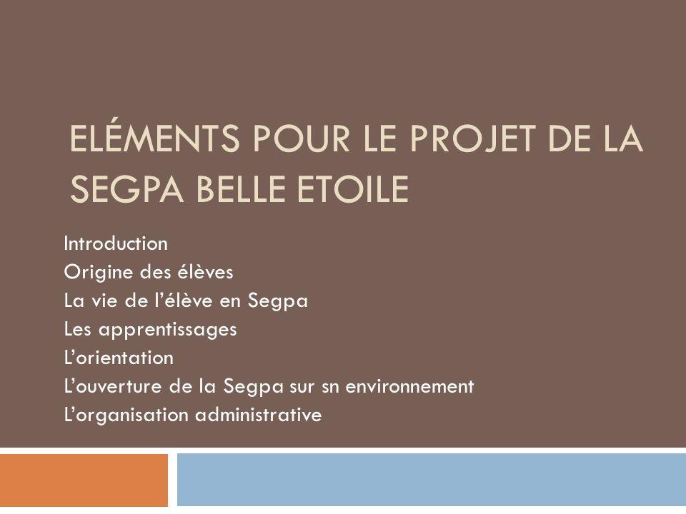 Eléments pour le projet de la segpa Belle Etoile