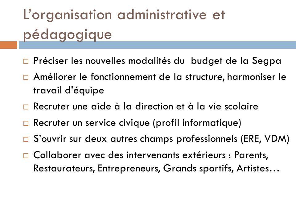 L'organisation administrative et pédagogique