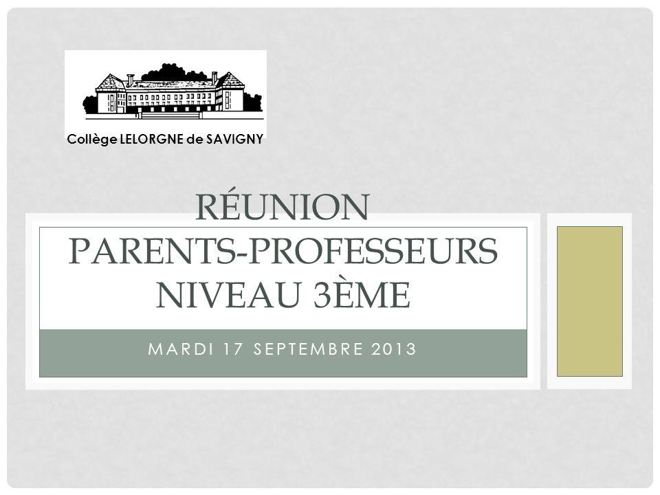 Réunion parents-professeurs niveau 3ème