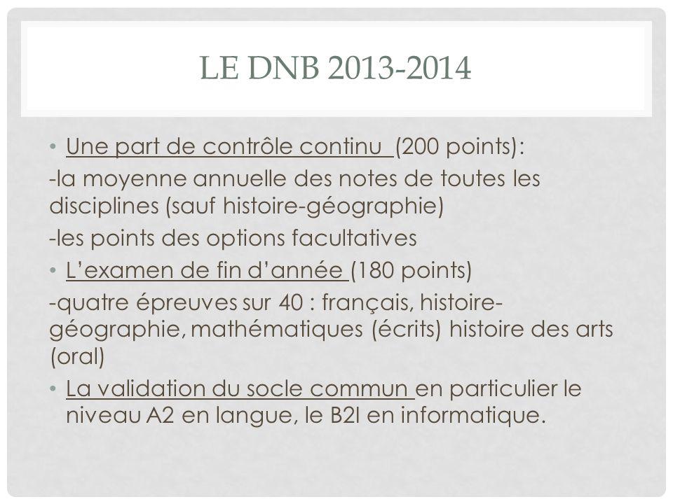 Le DNB 2013-2014 Une part de contrôle continu (200 points):