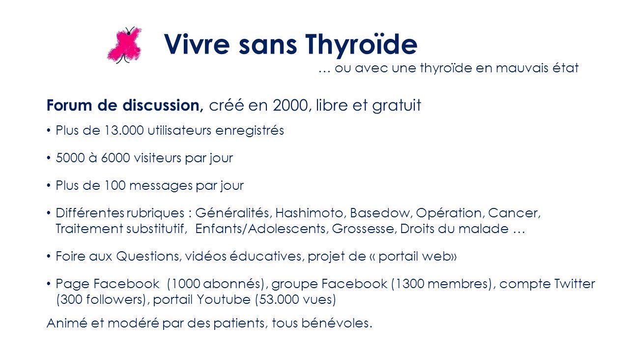 Vivre sans Thyroïde … ou avec une thyroïde en mauvais état Forum de discussion, créé en 2000, libre et gratuit.