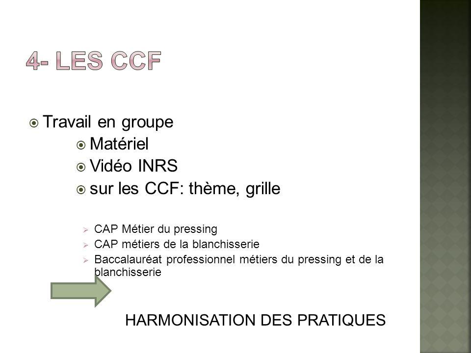 4- Les ccf Travail en groupe Matériel Vidéo INRS