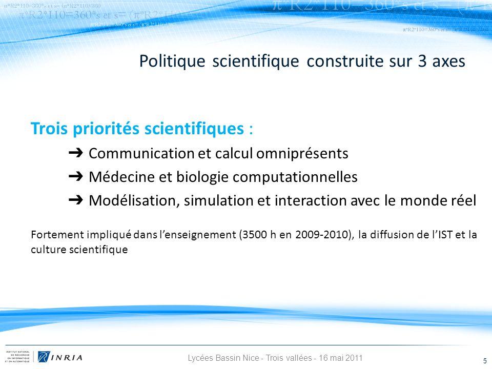 Politique scientifique construite sur 3 axes