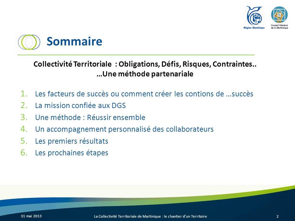 Sommaire Collectivité Territoriale : Obligations, Défis, Risques, Contraintes.. …Une méthode partenariale.
