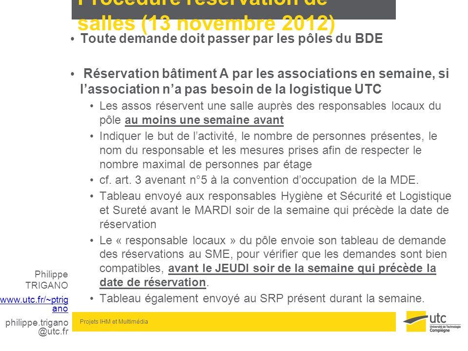 Procédure réservation de salles (13 novembre 2012)