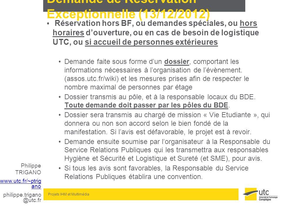 Demande de Réservation Exceptionnelle (13/12/2012)