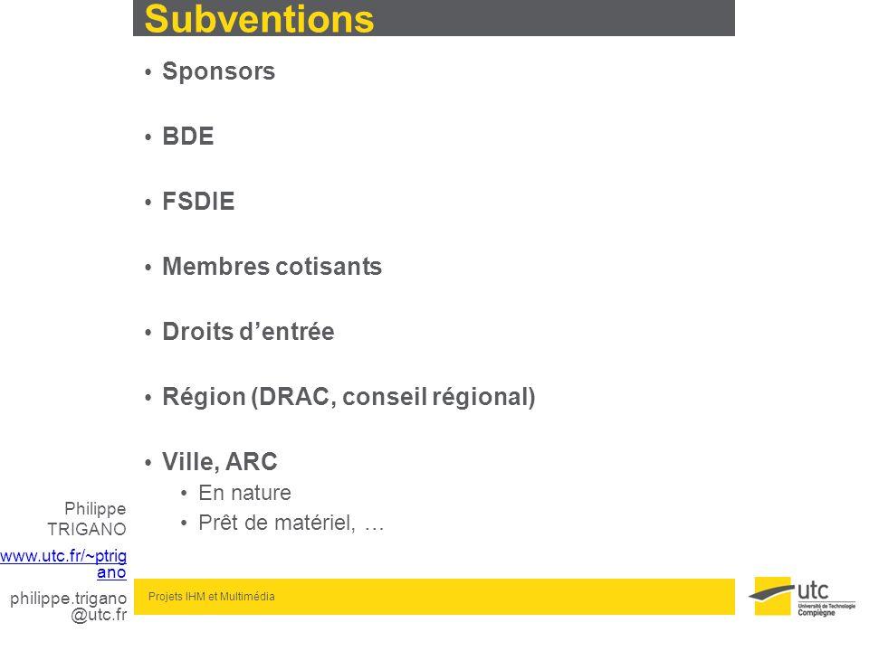 Subventions Sponsors BDE FSDIE Membres cotisants Droits d'entrée