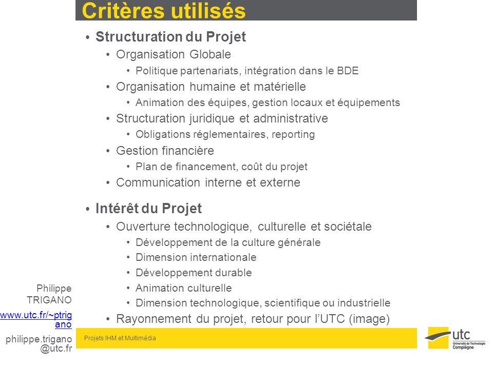 Critères utilisés Structuration du Projet Intérêt du Projet
